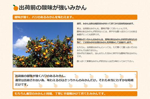 農ログが提案、採用された新商品「早摘みさっちゃんのみかん」の商品ページ2
