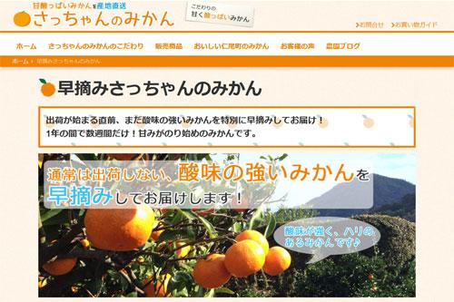 農ログが提案、採用された新商品「早摘みさっちゃんのみかん」の商品ページ1