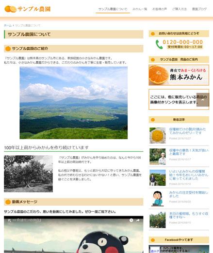 作成するホームページの例3ページ目