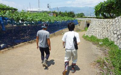 農家さんと一緒に現場を歩いている、農ログメンバー