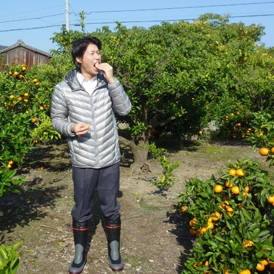 畑でみかんを食べている農ログメンバー