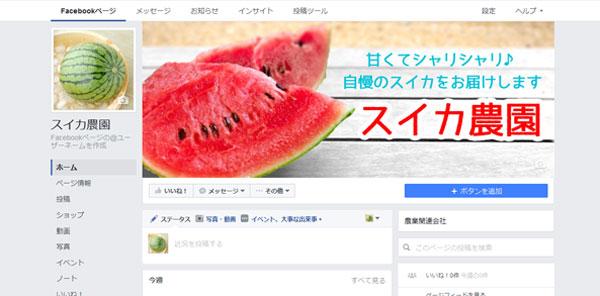 カバー画像とプロフィール画像を設定した農園のFacebookページ