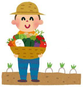 有機野菜をもった農家さんのイラスト