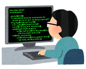 パソコンを触っているハッカー