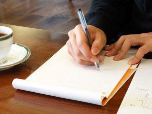 キャッチコピーを書いている写真