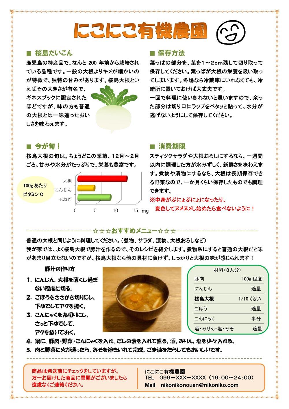野菜・果物パンフレットの例