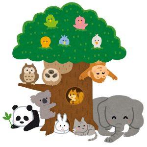 たくさんの動物がいる木