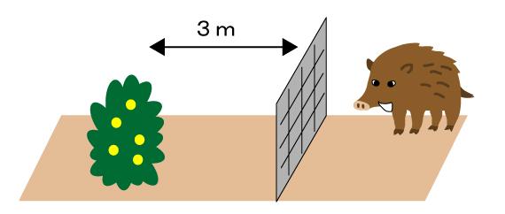農作物から離して柵を設置しているイラスト