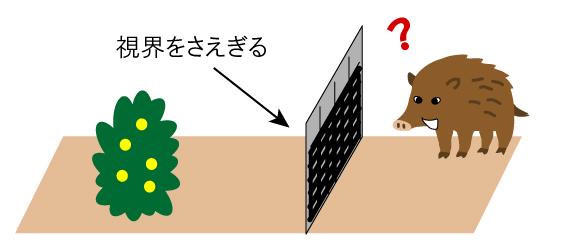 外から農作物が見えないようにしているイラスト