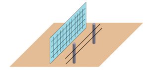 電気柵と金網を2重に設置したイラスト