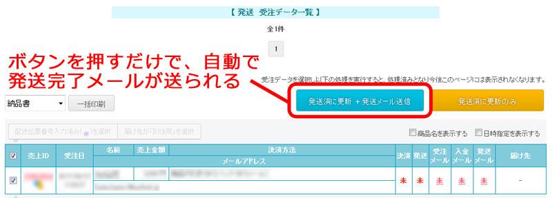 農ログが作成したネットショップのメール送信画面。ボタンを押すだけで自動で発送完了メールが送られる。