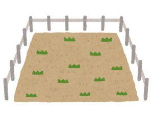 柵で囲われた畑